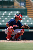 GCL Red Sox catcher Kleiber Rodriguez (41) during a Gulf Coast League game against the GCL Orioles on July 29, 2019 at Ed Smith Stadium in Sarasota, Florida.  GCL Red Sox defeated the GCL Pirates 9-1.  (Mike Janes/Four Seam Images)