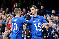 Alvaro Morata of Chelsea celebrates scoring his goal with Eden Hazard of Chelsea 2 1 during the Premier League match between Chelsea and Newcastle United at Stamford Bridge, London, England on 2 December 2017. Photo by David Horn.