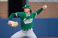 Eastern Michigan Hurons pitcher Kyle Huckaby (20) delivers a pitch to the plate against the Michigan Wolverines on May 3, 2016 at Ray Fisher Stadium in Ann Arbor, Michigan. Michigan defeated Eastern Michigan 12-4. (Andrew Woolley/Four Seam Images)