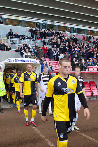 06.11.2010 FA Cup 1st Round Darlington v Bristol Rovers. The teams come out onto the pitch.