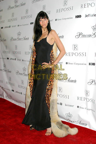 CAROL ALT .2004 Princess Grace Awards Gala - Arrivals.Cipriani's, New York City, New York .October 27, 2004.full length, black dress, hand on hip, fur cape, shawl, wrap, coat.www.capitalpictures.com.sales@capitalpictures.com.©Capital Pictures.