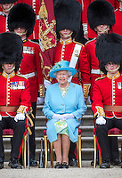 Queen Elizabeth II Presents New Colours To Grenadier Guards - UK