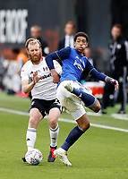 4th July 2020; Craven Cottage, London, England; English Championship Football, Fulham versus Birmingham City; Jude Bellingham of Birmingham City controlling the ball with Tim Ream of Fulham marking