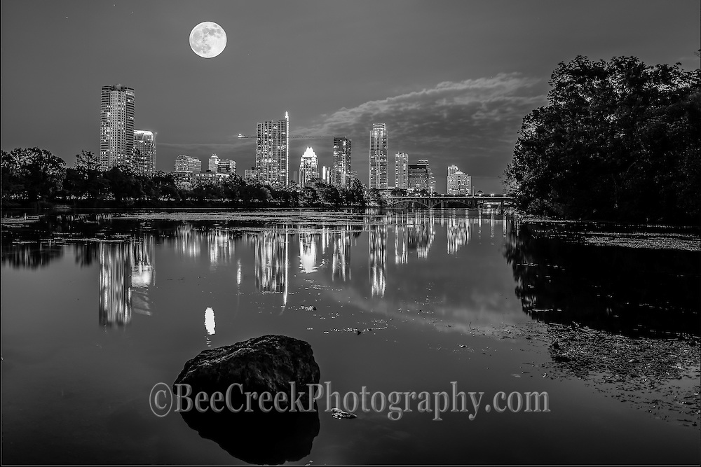 Lou Neff Point Austin Tx in Black and White