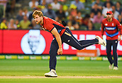 10th February 2018, Melbourne Cricket Ground, Melbourne, Australia; International Twenty20 Cricket, Australia versus England;  David Willey of England follows through with his bowling action