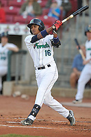 Cedar Rapids Kernels Jermaine Palacios (16) swings during the game against the Clinton LumberKings at Veterans Memorial Stadium on April 14, 2016 in Cedar Rapids, Iowa.  The Kernels won 7-3.  (Dennis Hubbard/Four Seam Images)