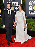 LOS ANGELES, USA. January 06, 2020: Idina Menzel & Aaron Lohr  arriving at the 2020 Golden Globe Awards at the Beverly Hilton Hotel.<br /> Picture: Paul Smith/Featureflash