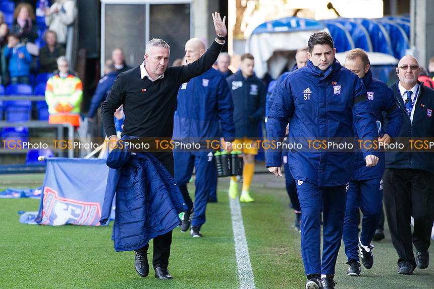 Paul Lambert, Manager of Ipswich Town acknowledges the fans on his entry during Ipswich Town vs Preston North End, Sky Bet EFL Championship Football at Portman Road on 3rd November 2018