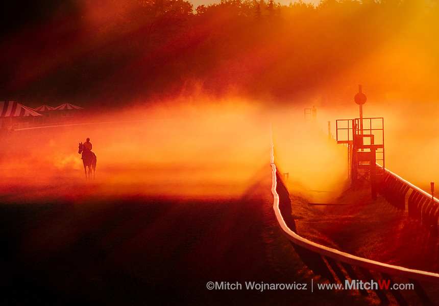 &copy;Mitch Wojnarowicz all rights reserved.<br /> An exercise rider takes a horse around the main track in the sunrise fog at Saratoga Race Course.