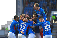 Portsmouth players mob Ellis Harrison of Portsmouth (22)   after scoring the first goalduring Portsmouth vs Birmingham City, Caraboa Cup Football at Fratton Park on 6th August 2019
