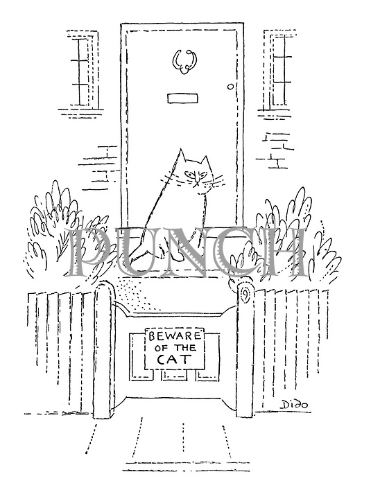 "(Sign on a garden gate reading ""Beware of the cat"")"