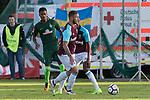 28.07.2017, Sportplatz, Schneverdingen, GER, FSP SV Werder Bremen (GER) vs WestHam United (ENG), <br /> <br /> im Bild<br /> <br /> Marco Arnautovic (WestHam)<br /> Theodor Gebre Selassie (Werder Bremen #23)<br /> <br /> Foto &copy; nordphoto / Kokenge