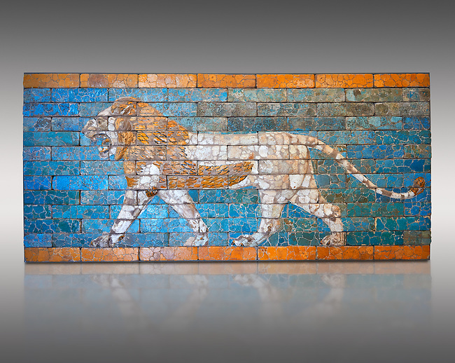 """Coloured glazed terracotta brick panel depicting striding lions from Babylon (Iraq). Neo-Babylonian Period, reign of Nebuchadnezzar II 604-562 BC. This panel belonged to the tiled decorated walls either side of the Processional Way in Babylon which was 3280 ft (1km) long. It led from the temple of Marduk, through the Ishtar Gate to the temple of Akitu. The lion is the is associated with the Babylonian goddess Ishtar. T processional Way played a key role in the  New Year festival which was held in the spring equinox. Babylonian Gods were believed to leave their temples on this day and visit the god Marduk in his temple in Babylon. Kings like Nebuchanezzar would have played an important role in this procession and they aside their regal regalia for the procession and recited """"negative confessions"""" as they preceded down the Processional way. Inv Ao 21118, The Louvre Museum, Paris."""