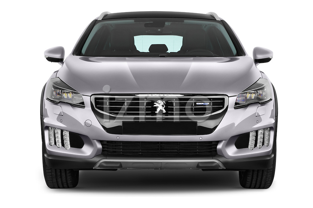 Car photography straight front view of a 2015 Peugeot 508 RXH 5 Door Wagon 2WD Front View