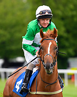 Shaun's Delight ridden by Liam Kenny goes down to the start  of The First Carlton Novice Auction Stakes Div 2  during Evening Racing at Salisbury Racecourse on 11th June 2019