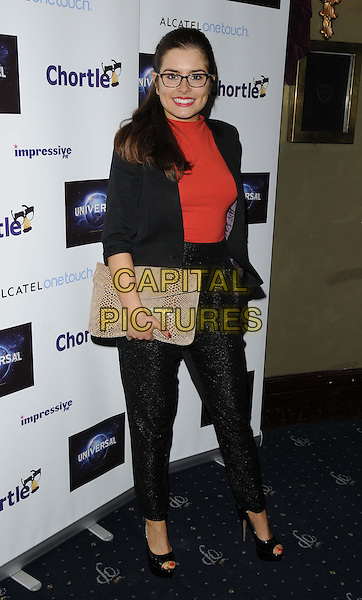 Rachel Shenton.attended the Chortle Comedy Awards 2013, Cafe de Paris, London, England..March 25th, 2013.full length black red  top blazer trousers suit clutch bag glasses beige snakeskin.CAP/CAN.©Can Nguyen/Capital Pictures.