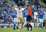 St Johnstone v FC Luzern...24.07.14  Europa League 2nd Round Qualifier<br /> Xavier Hochstrasser appeals to ref Jonathan Lardot after he fouled Gary Miller for the penalty<br /> Picture by Graeme Hart.<br /> Copyright Perthshire Picture Agency<br /> Tel: 01738 623350  Mobile: 07990 594431
