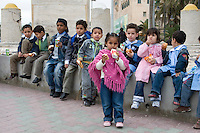 Tripoli, Libya - School Children Having Lunch before Museum Tour.  Note racial diversity.