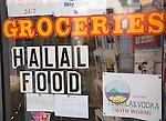 Groceries halal food shop window sign