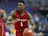 Washington, DC - MAR 10, 2018: Saint Joseph's Hawks guard Shavar Newkirk (1) brings the ball up court during semi final match up of the Atlantic 10 men's basketball championship between Saint Joseph's and Rhode Island at the Capital One Arena in Washington, DC. (Photo by Phil Peters/Media Images International)