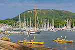 NO RELEASE - Kayakers on Camden Harbor in Camden, Maine, USA