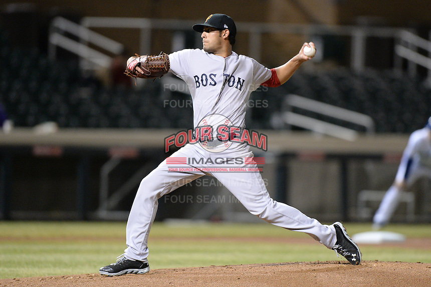 Surprise Saguaros pitcher Miguel Pena (65), of the Boston Red Sox organization, during an Arizona Fall League game against the Salt River Rafters on October 15, 2013 at Salt River Fields at Talking Stick in Scottsdale, Arizona.  Surprise defeated Salt River 9-2.  (Mike Janes/Four Seam Images)