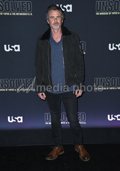 "22 February 2018 - Hollywood, California - Sam Trammell. USA Network's ""Unsolved: The Murders of Tupac & The Notorious B.I.G."" held at Avalon Hollywood. Photo Credit: Birdie Thompson/AdMedia"
