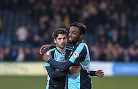 Max Kretzschmar of Wycombe Wanderers & Gozie Ugwu of Wycombe Wanderers  embrace at the final whistle during the Sky Bet League 2 match between Wycombe Wanderers and Bristol Rovers at Adams Park, High Wycombe, England on 27 February 2016. Photo by Andrew Rowland.