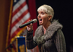 Lissa Overlie performs the National Anthem at the Western Nevada College commencement in Fallon, Nev., on Tuesday, May 20, 2014. <br /> Photo by Kim Lamb