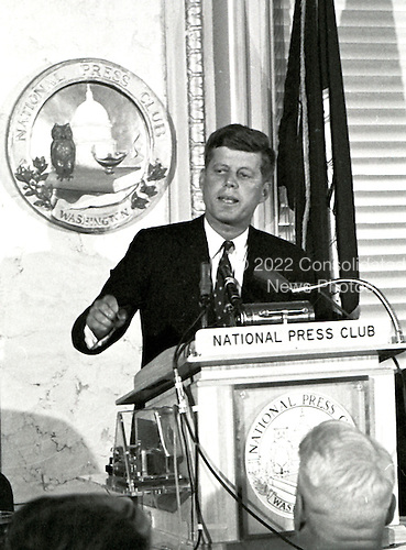 United States Senator John F. Kennedy (Democrat of Massachusetts), a candidate for the 1960 Democratic Party nomination for President of the United States, speaks at a National Press Club luncheon in Washington, DC on January 14, 1960.<br /> Credit: Benjamin E. &quot;Gene&quot; Forte / CNP