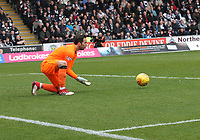 Neil Alexander saves in the St Mirren v Livingston Scottish Professional Football League Ladbrokes Championship match played at the Paisley 2021 Stadium, Paisley on 14.4.18.