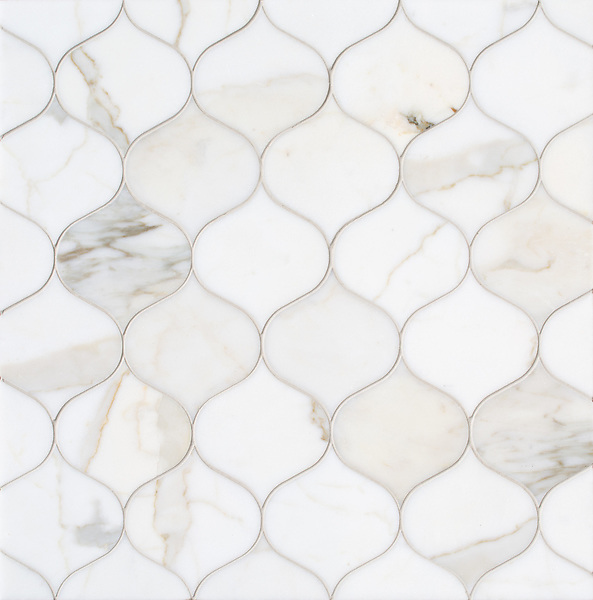Odile, a stone waterjet mosaic, show in polished Calacatta Gold, is part of the Semplice® collection for New Ravenna.