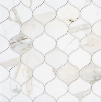 Odile, a stone waterjet mosaic, show in polished Calacatta Gold, is part of the Semplice™ collection for New Ravenna.