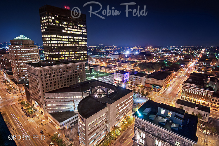 City of Dayton Ohio, Skyline of Dayton Ohio, Cityscape of Dayton Ohio, Night View of Downtown Dayton Ohio, Main Street & Third St. First Place Scenic (pro) in Dayton in Focus Photo contest