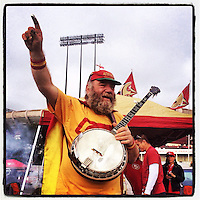 SAN FRANCISCO - NOVEMBER 10:  Instagram of the banjo man outside the stadium before the game between the Carolina Panthers and San Francisco 49ers at Candlestick Park on November 10, 2013 in San Francisco, California. Photo by Brad Mangin