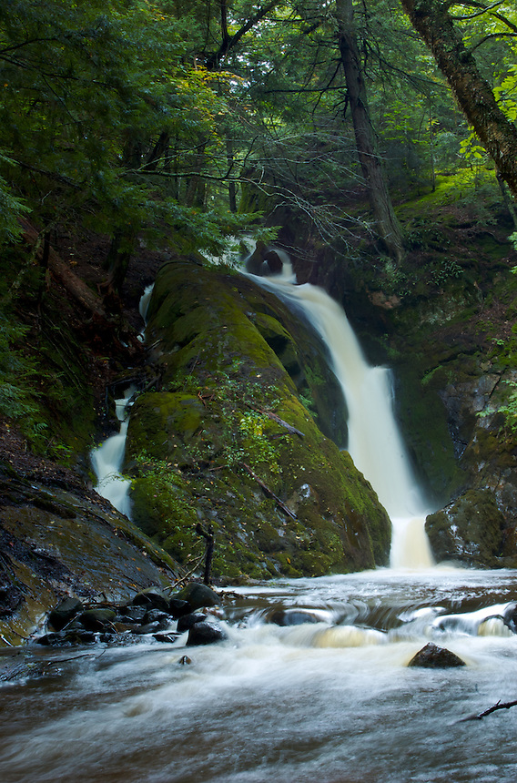 A secluded beautiful waterfall located in the central Upper Peninsula of Michigan.