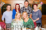 Theresa Cockell &amp; Jo Kermeen ( seated) from Australia pictured  with their Duagh relations in Leen's Hotel on Saturday night.<br /> Back: Derry Sheehy, Taylor Sheehy, Ian Stryker &amp; Catherine Sheehy.