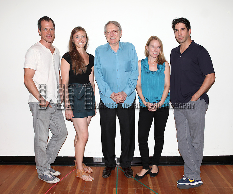 Darren Pettie, Sarah Sokolovic, John Cullum, Amy Ryan and David Schwimmer.attending the first day of rehearsals for the Playwrights Horizon Production of 'Detroit' at their rehearsal studios in New York on 7/27/12