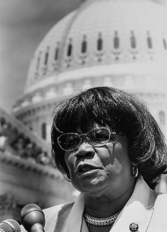 Close-up of Rep. Carrie P. Meek, D-Fla., on Capitol Hill on Sep. 14, 1998. (Photo by Shana Raab/CQ Roll Call via Getty Images)
