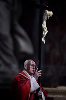 Pope Francis the ceremony of the Good Friday Passion of the Lord Mass in Saint Peter's Basilica at the Vatican.15 April 2017