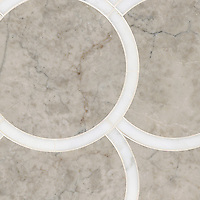 Montgomery Large, a stone water jet mosaic, shown in Carrara and Socorro Gray, is part of the Ann Sacks Beau Monde collection sold exclusively at www.annsacks.com