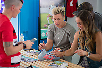 Orlando, FL - Saturday October 14, 2017: Abby Wambach, Heather Mitts during the NWSL Championship match between the North Carolina Courage and the Portland Thorns FC at Orlando City Stadium.
