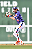Clemson Tigers shortstop Eli White (4) during a game against the South Carolina Gamecocks at Fluor Field on March 5, 2016 in Greenville, South Carolina. The Tigers defeated the Gamecocks 5-0. (Tony Farlow/Four Seam Images)