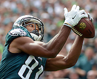 Philadelphia Eagles Jordan Matthews scores a touchdown in the first quarter against the Cleveland Browns, September 11, 2016 at Lincoln Financial Field in Philadelphia, Pennsylvania.  (Photo by William Thomas Cain)