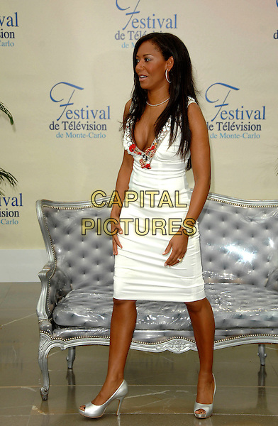 "MEL B.Photocall promoting the television series ""Dancing with the Stars"" during the 2008 Monte Carlo Television Festival held at Grimaldi Forum, Monaco, Principality of Monaco..June 12th, 2008.melanie brown scary spice full length white dress low cut plunging neckline cleavage beads beaded trim silver shoes  .CAP/TTL .© TTL/Capital Pictures"