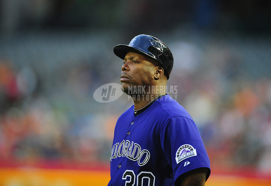 May 4, 2011; Phoenix, AZ, USA; Colorado Rockies first base coach Glenallen Hill against the Arizona Diamondbacks at Chase Field. Mandatory Credit: Mark J. Rebilas-
