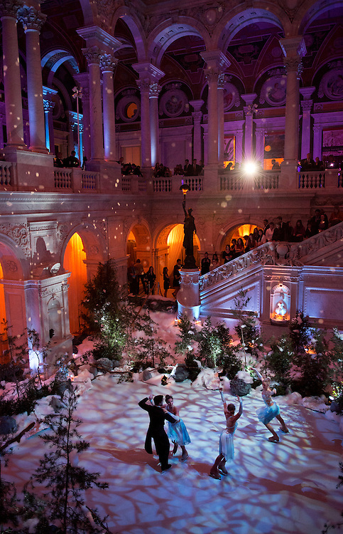 UNITED STATES - OCTOBER 25:  Skaters perform in the Library of Congress Thomas Jefferson Building on an acrylic surface that was installed on the floor of the Great Hall.  The event entitled The Role of Arts in International Relations was put on by American University's Initiative for Russian Culture and The Mariinsky Foundation.  (Photo By Tom Williams/CQ Roll Call)