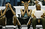 Atlantic's (left to right) Larry Wallace (32), Cutis Mitchell (23), react to their team being unable to come back as William Bell keeps an eye on the game in the fourth quarter Thursday, March 1, 2007, at the Lakeland Center in Lakeland. Atlantic High School lost to Miami Monsignor Pace 73-52 in the state's 4A final four basketball tournament. (Daytona Beach News-Journal, Chad Pilster)