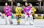 Stockholm 2014-12-19 Bandy Elitserien Hammarby IF - Broberg S&ouml;derhamn :  <br /> Broberg S&ouml;derhamns m&aring;lvakt Viktor Ersmar Vadim Arhipkin , m&aring;lvakt Henrik Rhenvall och Rolf Larsson &auml;r glada efter matchen mellan Hammarby IF och Broberg S&ouml;derhamn <br /> (Foto: Kenta J&ouml;nsson) Nyckelord:  Elitserien Bandy Zinkensdamms IP Zinkensdamm Zinken Hammarby Bajen HIF Broberg S&ouml;derhamn jubel gl&auml;dje lycka glad happy