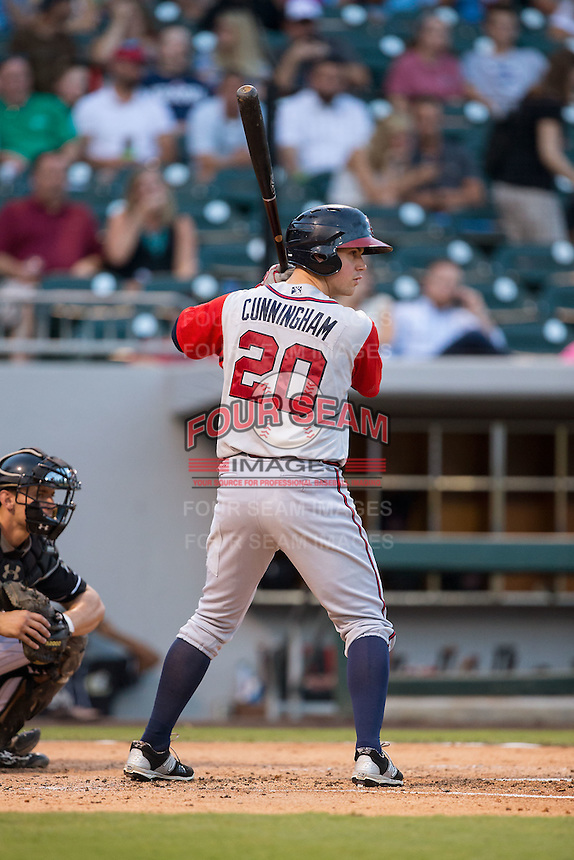 Todd Cunningham (20) of the Gwinnett Braves at bat against the Charlotte Knights at BB&T BallPark on August 11, 2015 in Charlotte, North Carolina.  The Knights defeated the Braves 3-2.  (Brian Westerholt/Four Seam Images)